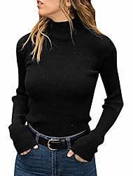 cheap -, fashion ladies solid color turtleneck sweater casual knitted sweater slim fit sweatshirt warm pullover s-xl (black 01, l)