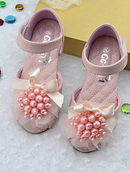 cheap -Girls' Flats Princess Shoes PU Little Kids(4-7ys) Daily Walking Shoes Pink Beige Spring Fall / Peep Toe