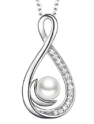 cheap -christmas jewelry white pearl necklace for wife birthday gifts mom forever love infinity moon jewelry sterling silver pendant necklace