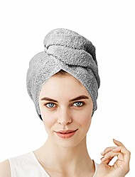 cheap -hair towel wrap quick dry 100% cotton super absorbent turban head wrap for women with button, anti frizz hair products, hair cap for curly, long & thick hair (1pc) (grey)