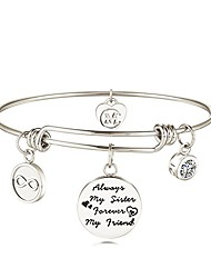 cheap -sister friend expandable charm inspirational bangle bracelets always my sister forever my friend