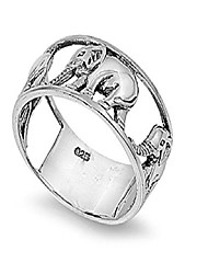 cheap -sterling silver elephant carousel ring size 9