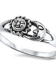 cheap -solid sun & moon .925 sterling silver ring size 8