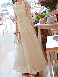 cheap -A-Line Wedding Dresses Jewel Neck Knee Length Lace Half Sleeve Country Beach with 2021