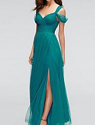 cheap -A-Line Sweetheart Neckline Floor Length Chiffon Bridesmaid Dress with Split Front