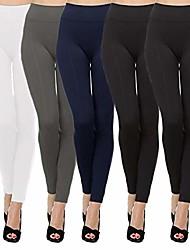 cheap -5 pack women's high waist warm thermal fleece lined full length leggings with flattering front seam (black/black/navy/grey/white, s/m)