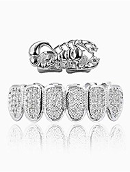 cheap -5 layers 14k real gold filled scorpion teeth grillz set rapper fangs vampire icy top and bottom (silver)
