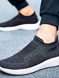 cheap -Men's Loafers & Slip-Ons Sporty Casual Daily Outdoor Running Shoes Fitness & Cross Training Shoes Tissage Volant Breathable Wear Proof Black Khaki Gray Fall Summer
