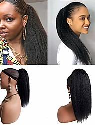 cheap -brazilian kinky straight drawstring ponytail human hair with clips 100g/pc 10-18inches brazilian yaki straight ponytail clip in hair extension for african american (12inch, kinky straight ponytail)