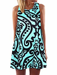 cheap -the new women's vintage boho printed o-neck sleeveless dress, 2019 beach casual fashion summer dress for ladies uk plus size 6-20 (black, xxxxl=(uk:18))