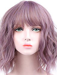 cheap -Short Wavy Wigs for Black Women African American Synthetic Pink Hair Purple Wigs with Bangs Heat Resistant Cosplay Wig