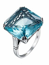 cheap -aquamarine ring silver 925 for women real 925 sterling silver vintage rings big gem blue stone jewellery christmas