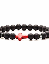 cheap -fashion 8mm matte agate beads bracelet cross elastic link bracelet,7 1/2 wrist