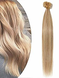 cheap -pre bonded hair extensions 1g - 100% real remy human hair straight keratin extension u tip nail tip - 50 strands 50g (#18/613 ash blonde mix bleach blonde, 18 inch)