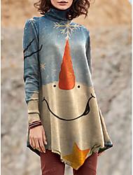 cheap -Women's T Shirt Dress Tee Dress Short Mini Dress Light Blue Long Sleeve Print Color Block Patchwork Print Fall Winter Turtleneck Casual Christmas 2021 S M L XL XXL 3XL 4XL 5XL