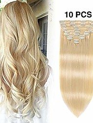 """cheap -Real Clip in Hair Extensions 22 Inches Light Blonde #613 Color 10 Pieces 130g Double Weft Soft Thick Straight Full Head Remy Hair Extension for Women (22""""130g Bleach Blonde #613)"""