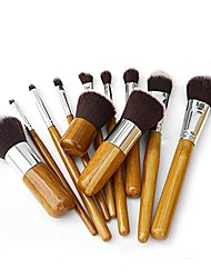 cheap -® professional 11pcs bamboo handles makeup brushes kit tools cosmetic make up set, especially designed for girls / teens / women / bridal / ladies - (11 pcs brown)