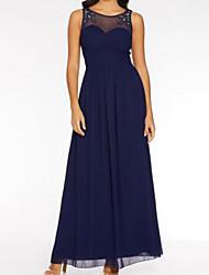 cheap -A-Line Jewel Neck Maxi Chiffon / Stretch Satin Bridesmaid Dress with Beading / Embroidery