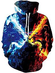 cheap -mens halloween hoodie 3d print imagic pullover long sleeve patterned sweatshirt (fire lion, xl)