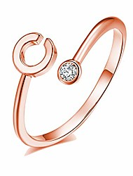cheap -rose gold initial ring for women adjustable cz letter knuckle rings for girls(j)