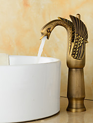 cheap -Brass Bathroom Faucet, Golden/Rustic Nickel/Rose Gold/Electroplated/Black/White & Golden Single Handle One Hole Waterfall Swan Bath Taps With Hot and Cold Water