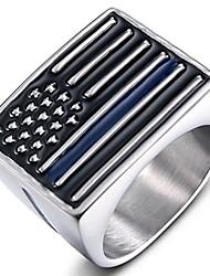 cheap -men's vintage stainless steel band ring american flag signet biker punk ring