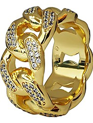 cheap -premium 18k real gold electroplated 11mm simulated diamond solid miami cuban link chain design eternity ring made from jewelers alloy. (9)
