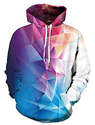 cheap -womens 3d digital printed hoodie with pockets pullover fashion hooded sweatshirts colorful geometric xl