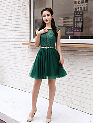 cheap -A-Line Beautiful Back Elegant Homecoming Party Wear Dress Illusion Neck Sleeveless Short / Mini Tulle with Lace Insert 2021