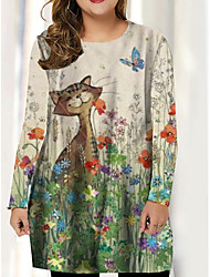 cheap -Plus Size Women's T Shirt Dress Tee Dress Short Mini Dress Long Sleeve Print Print Spring &  Fall Sexy Cotton Spandex Jersey Loose cm to inches Big and tall