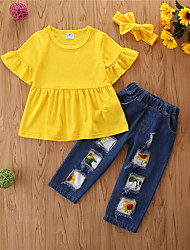 cheap -Kids Toddler Girls' Clothing Set Solid Colored Long Sleeve Cotton Casual Yellow Basic Regular Regular