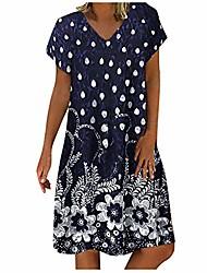 baratos -Minivestido casual para mulheres de verão solto com decote em v listra com manga curta babado em camadas vestido de linho