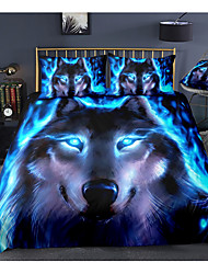 cheap -3D Wolf Print 3-Piece Duvet Cover Set Hotel Bedding Sets Comforter Cover with Soft Lightweight Microfiber, Include 1 Duvet Cover, 2 Pillowcases for Double/Queen/King(1 Pillowcase for Twin/Single)