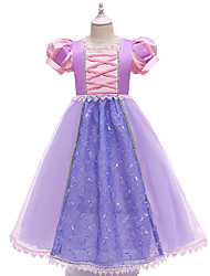 cheap -Princess Flapper Dress Dress Party Costume Girls' Movie Cosplay Cosplay Costume Party Purple Dress Christmas Children's Day New Year Polyester Organza