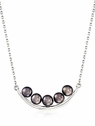 cheap -5.5-6mm black cultured pearl curved bar necklace in sterling silver