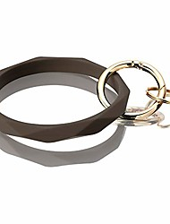 cheap -silicone bracelet keychain, holder large bangle for women (dark coffee)