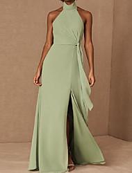 cheap -A-Line Halter Neck Floor Length Chiffon / Shantung Bridesmaid Dress with Ruching