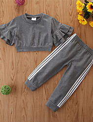 cheap -Kids Toddler Girls' Clothing Set Solid Colored Long Sleeve Cotton Casual Gray Basic Short Short