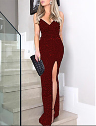cheap -Women's Sheath Dress Maxi long Dress - Long Sleeve Solid Color Split Spring Fall Plus Size Elegant Formal Going out 2020 Black Purple Red Blushing Pink Wine Royal Blue S M L XL XXL 3XL