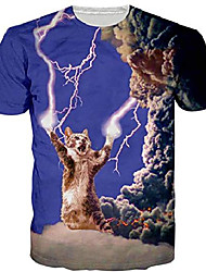 cheap -Men's T shirt 3D Print N / A Short Sleeves Causal Tops White