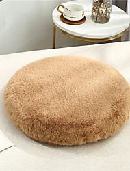 cheap -Rabbit Fur Soft Home Office Seat Cushion Pillow Solid Color Prevent Slip Keep Warm Chair Cushion Home Office Bedroom Home Use Dining Table Chair Cushion Contain Pillow Core