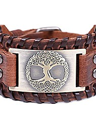 cheap -viking bracelet tree of life nordic brown wide leather wristband talisman for men