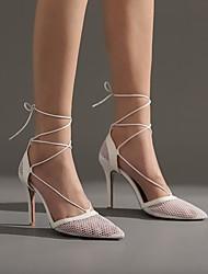 cheap -Women's Heels Stiletto Heel Pointed Toe Daily PU Synthetics White Black
