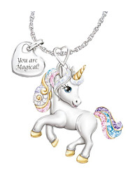 cheap -girls unicorn necklace pendant cute animal colorful unicorn jewelry 'your are magical' heart pendant gift for teen kids christmas thanksgiving halloween
