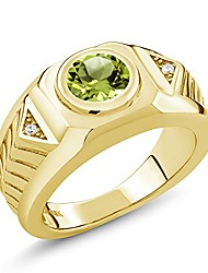 cheap -2.03 ct round green peridot 18k yellow gold plated silver men's ring (size 13)