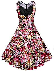 cheap -women 50s 60s floral print v neck rockabilly swing retro dresses pin up uk 6-20 floral #3 uk 12