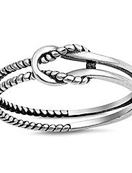 cheap -oxidized infinity love knot rope loop ring .925 sterling silver band size 4