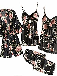 cheap -women's pajamas 5pcs set silk floral print jumpsuit pyjamas set satin nightwear sexy lace nightgown nightdress homewear robe camisole sleepwear bathrobe(black,s)