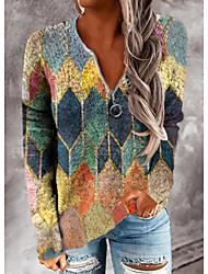 cheap -Women's Geometric Women's Hoodies Long Sleeve Sweater Cardigans V Neck Fall Winter Blue Yellow Rainbow