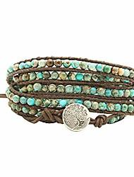 cheap -beaded wrap bracelet 4mm healing beaded gemstone bangle handmade adjustable leather bracelet for women (4mm imperial jasper)